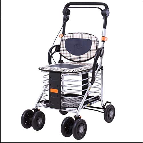 Rollator Walker-korb (Hochleistungsaluminiumlegierung-faltender Lebensmitteleinkaufswagen mit Sicherheitshandbremse Für ältere Personen, Spaziergänger für Senioren mit Sitz, Trolley Dolly-Wagen mit Rollen und 8 Sicherheits)