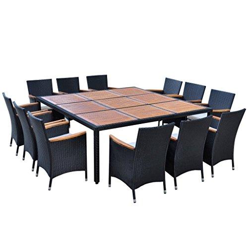 Festnight Poly-Rattan Gartenmöbel-Set Garten Essgruppe Akazienholz-Tischplatte Sitzgruppe mit 1 Gartentisch + 12 Stühle + 12 Sitzkissen für 12 Personen - Schwarz (Insel-stühle Küche)