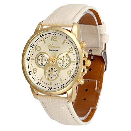 Jia Meng Paar Genf Quarzuhr, Unisex Casual Genf Kunstleder Quarz Analog Armbanduhr Uhren