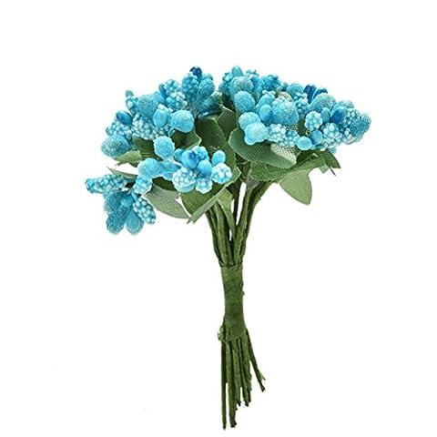 12pcs/Bunch Artificial Stamen Bud Silk Flower Bouquet Wedding Decor DIY Craft Gift Box Blue by amazing-trading