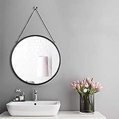 Idea Regalo - Rumcent Specchio Rotondo, con Catenella, Montaggio a Parete Gancio Messi, 50cm di Diametro, Nero
