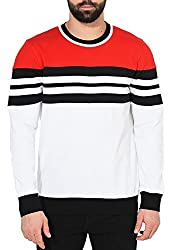 Gritstones Red/Black/White Full Sleeve Round Neck Sweatshirt GSSWTSHT1625RDBLKWHT_M