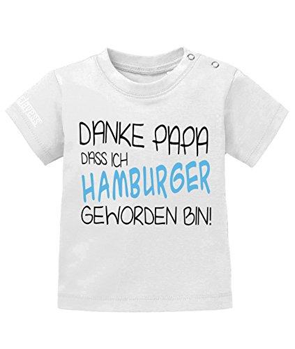 DANKE PAPA DAS ICH HAMBURGER GEWORDEN BIN - KIDS- T-SHIRT in Weiss by Kids-Jayess Gr. 92/98