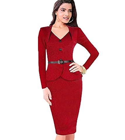 V-Collar Long-Sleeved Lotus Leaf Pack Hip Dress,Red,Xl