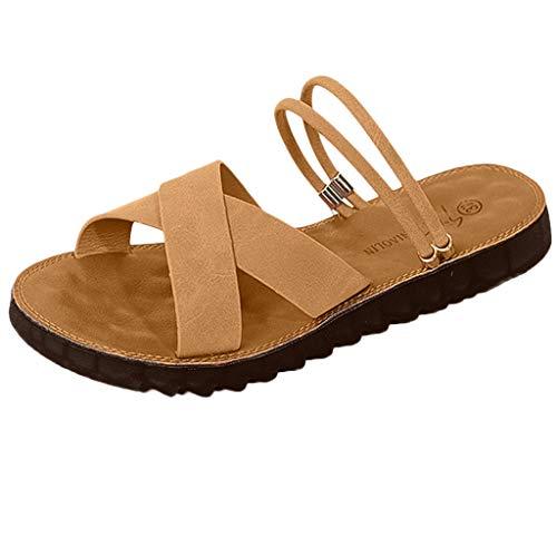 iHAZA Damen Beiläufig Flache Schuhe Runder Zeh Slipper Hausschuhe Atmungsaktiv Strand Sandalen Rom