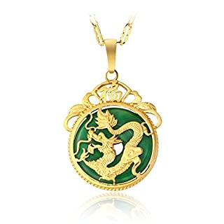 MCSAYS Chinese AAA Tibet Gold Green Jade Dragon Malay Jade Pendant Necklace & Pendants Pendent Gift(Letter O Chain)