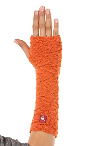 APU KUNTUR Alpaka-Handstulpen BIESEN Baby Alpaka Arm-Stulpe Gelenkwärmer Pulswärmer Damen orange