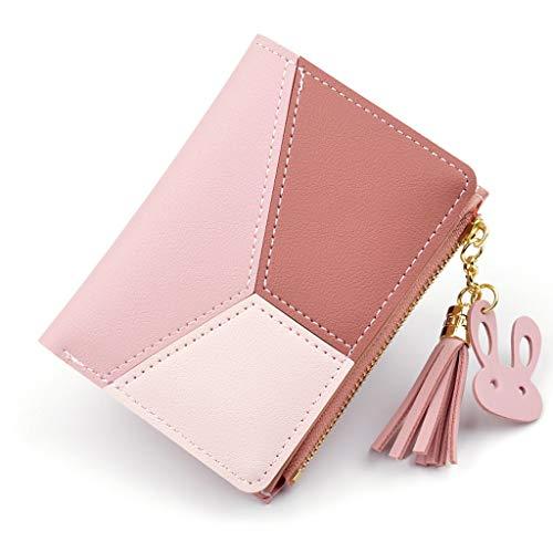 Metallic Classic Short (Cenlang Wallet For Women With Coin Pocket Bag,Coin Purse Pouch Wallet Money Bag,Id Card Holder Slim Coin Purse,Blue,Pink,Black Short Zipper Patchwork Ladies Handbag)