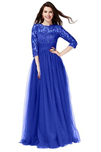 Gorgeous Bride Romantisch Empire Tuell Spitze Lang Abendkleid Festkleid Ballkleid Royalblau