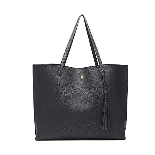 Miss Lulu Damen Vintage Tote Beutel Schultertasche Handtasche Shopper Taschen Henkeltasche (Schwarz)