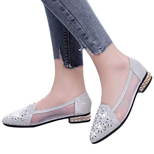 Preisvergleich Produktbild Damen Schuhe, Malloom Mode Elegant Schuhe für Party,  Freizeit Frauen Flache Schuhe Ballett mit Niedrigen Ferse Metall Spitz Wohnungen Aushöhlen Schuhe Sandaletten Lack Blockabsatz Glitzer