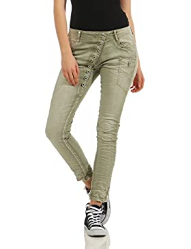 ZARMEXX Jeans de mujer Jeans Stretch Pants Skinny Tube Baggy Boyfriend Look usados Washed hipsters con boton...