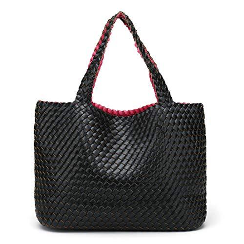 Sakuldes Doppelseitige Verwendung von Frauen mit handgewebter gewebter Tasche Offen Vielseitige...