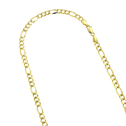 10k-18-yellow-solid-gold-5mm-diamond-cut-figaro-chain-link-necklace-with-lobster-clasp
