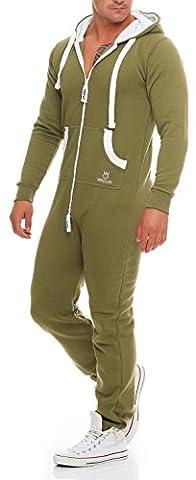 PRINZ LUIS Herren Jumpsuit Jogger Jogging Anzug Trainingsanzug Overall (L, Oliv)