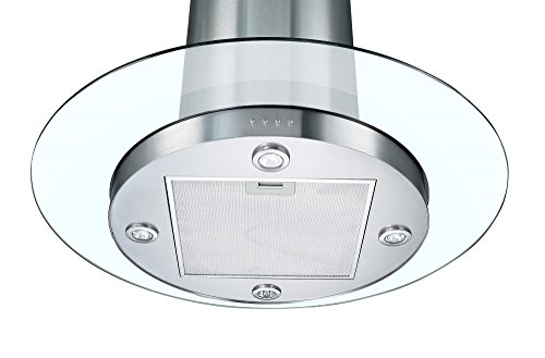 Cookology TUB900GL 90cm Round Glass & Stainless Steel Tubular Island Kitchen Extractor Fan / Chimney Cooker Hood