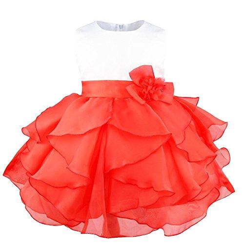 iixpin Mädchen Partykleid Baby Prinzessin Ärmellos Organza Blumenmädchenkleid Tutu Taufkleid mit Abnehmbarer Blume Brosche Hochzeit Festzug Rot 68-74(Nr. ()