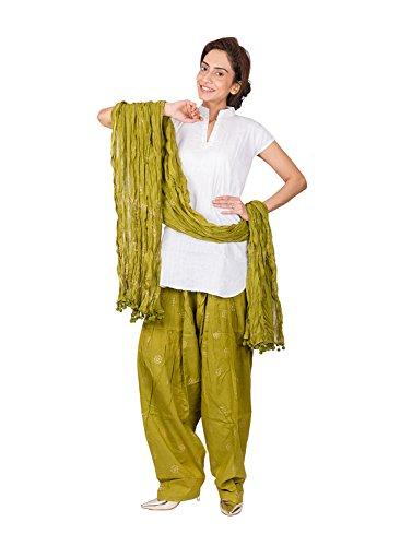 Womens Cottage Women\'s Mehandi Green Rogan Gold Printed Cotton Semi Patiala Salwar & Cotton Dupatta Stole with Pom Pom Lace