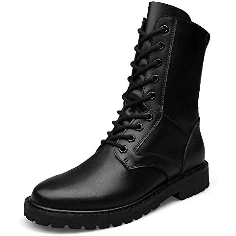 Oudan Bottes de Taille Moyenne pour Hommes, Chaussures pour Montantes  Militaires en Cuir pour Chaussures 300800b5862d
