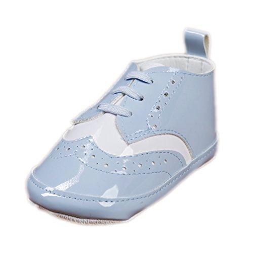 Babyschuhe für Jungen Festliche Taufschuhe hellblau weiß Schnürer Lack Modell 6116 (19)