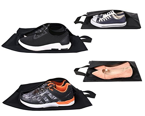 Eono Essentials Reise Schuhbeutel  4-teiliges Set (2 normal + 2 groß) leichtes und wasserdichtes Nylon mit Reißverschluss für Männer und Frauen