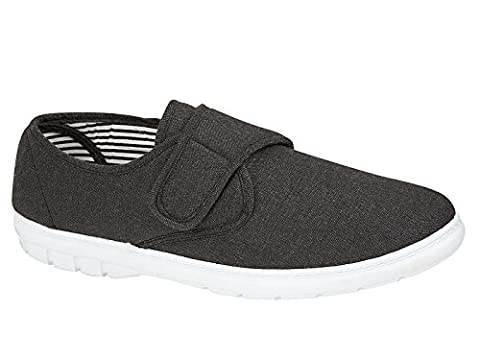 Mens Kevin Shoe Tree Wider Fitting Casual Canvas Velcro Fastening Pump Trainer Deck Shoes Loafer Size 10 UK