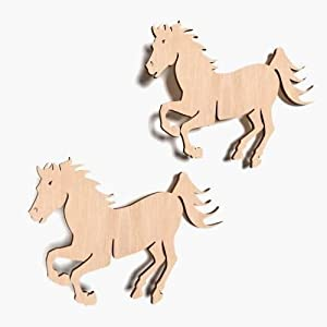 10x Pferd Glück Tier blank Form Holz Basteln Bemalen Aufhängen Dekoration (X3)