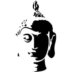 Vinilo Decorativo Buda head .(105x60cm aprox.) color negro