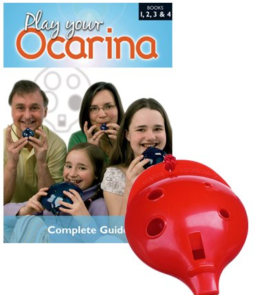 Englische Okarina ROT und COMPLETE Play your Ocarina Books 1, 2, 3 & 4, als Set