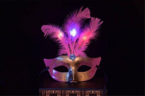 Halloween Urlaub Cosplay Maske Tomentose Prinzessin Federn mit LED-Licht Kinder Festival für Masquerade Abend Prom Mardi Gras Party Maske, Rosa (Mardi Gras Hund Kostüme)