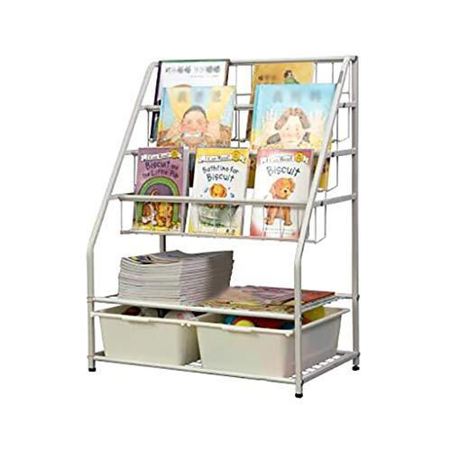 GWXJZ Estanterías para CD DVD Estantería para niños Arte de Hierro Revistero Estantes para bebés De pie Expositor de Libros ilustrados Gabinete de Almacenamiento de Juguetes Perchero casero