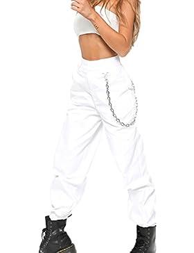 Los nuevos pantalones de la moda de las mujeres, pantalones anchos de la pierna ancha del color puro de Harem...