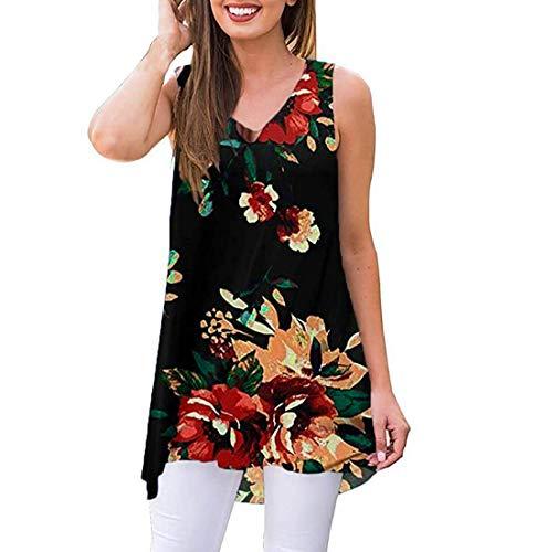Binggong Damen Ärmellos Blumen Kleider V-Ausschnitt Strand Swing Kleid Elegant Tunikakleid T-Shirtkleid Lose Tunika Top