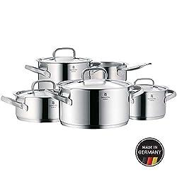 WMF Gourmet Plus Topfset 5-teilig mit Metalldeckel, Kochtopf, Stielkasserolle, Cromargan Edelstahl mattiert, Innenskalierung, Dampföffnung, induktionsgeeignet