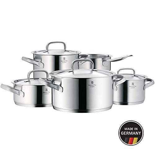 WMF Gourmet Plus Topfset 5-teilig, Cromargan Edelstahl mattiert, Töpfe mit Metalldeckel, Induktionstöpfe, Topf Induktion, Innenskalierung, Dampföffnung, unbeschichtet