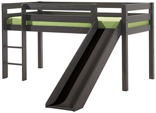 VIPACK PIHSGB15 Spielbett Pino mit Rutsche, Maße 210 x 114 x 218 cm, Liegefläche 90 x 200 cm, Kiefer massiv taupe, ein warmes dunkel grau lackiert (Hochbett Grau)