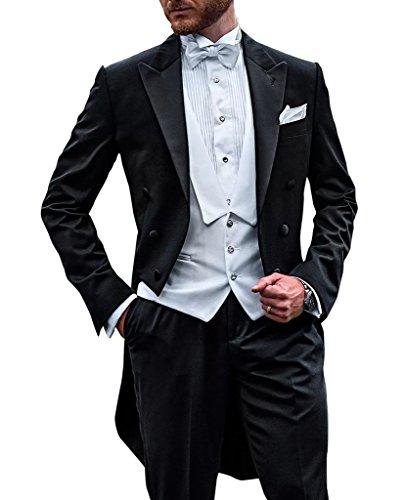 Suit Me Lang Herren Anzug 3 Teiler Sakko Hose Weste Party Hochzeit Wedding Suits Tuxedos AH-10 Schwarz M