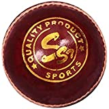 SST Cricket Leather Ball RED, Standard Size, 2 Piece, 1 PC Pack (Test)