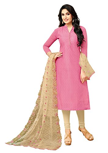 Rajnandini Pink Semi Modal Embroidered Unstitched Dress Material