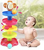 #9: Bighub Ball Drop Toys Swirl Ball Tower Roll Swirling Ramp for Baby and Toddler Development Educational Toys, Stack, Drop and Go Ball Ramp Toy Set Includes 3 Spinning Activity Rattle Balls with Bells