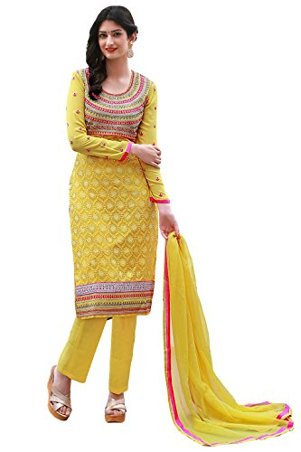 Justkartit Women's Semi-Stitched Yellow & Pink Colour Georgette Salwar Kameez For Party Wear / Festival Wear / Office & Casual Wear /Latest Salwar Kameez Collection For Special Occasions (2016 Salwar Kameez Collection)