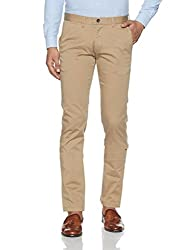 Arrow Sports Mens Straight Fit Cotton Casual Trousers (ASUTR2515_Beige_32W x 34L)