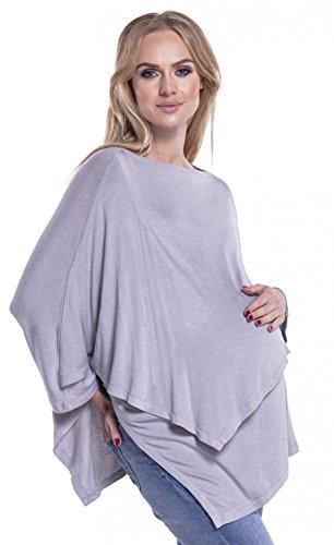 Happy Mama. Femme Poncho Maternité Allaitement Double Couches Maille Fine. 441p Gris Clair