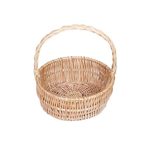 DJSMycl Picknickkorb Mit Kleinem Griff, Obstkorb, Wicker Picknickkorb (Color : C, Size : M) (Weidenkorb Mit Liner Kleine)