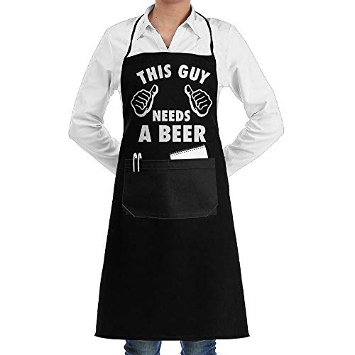 dfgjfgjdfj This Guy Needs A Beer Schürze Lace Adult Mens Womens Chef Adjustable Polyester Long Full Black Cooking Kitchen Schürzes Bib with Pockets for Restaurant Baking Crafting Gardening BBQ Grill (Gute Einfache Guy Kostüm)