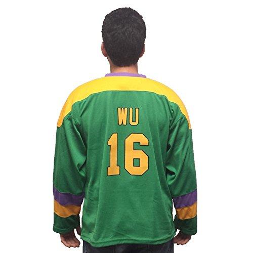 (MyPartyShirt Ken WU # 16Mighty Ducks Film Herren Hockey Jersey Kenny Kostüm D2Ice Skater 90der erwachsenen, Grün, 04-05-01-07Bx)