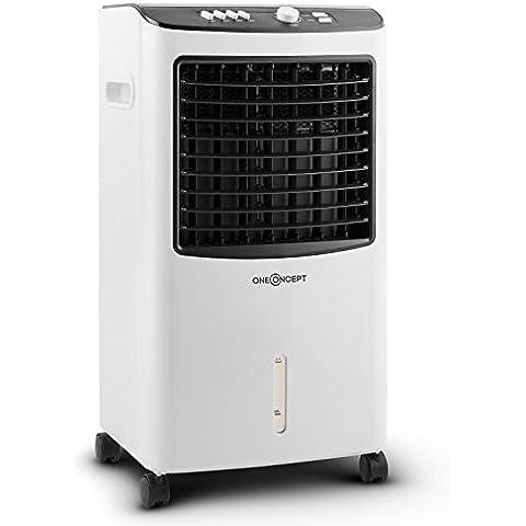 oneConcept MCH-2 V2 Enfriador de aire Aire acondicionado Ventilador 3 en 1 portátil (65W potencia bajo consumo, caudal de 400m³/h, filtro de aire, humidificador, refrigerador, 3 niveles potencia, 2 baterias frio, tanque de agua hielo, 4 ruedas)
