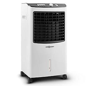 oneConcept • MCH-2 V2 • Luftkühler mit Wasserkühlung • Ventilator • Luftbefeuchter • Luftreiniger • 3 Leistungsstufen • 400 m³/h Luftdurchsatz • Timer • energiesparend • 65 Watt • 8 Liter Wassertank • Wasserstandsanzeige • inkl. Kühlakkus • weiß-schwarz