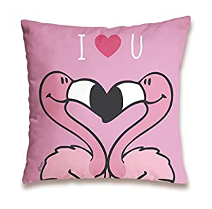 NICI 41944 Flamingo Cojín de algodón I Love You, 37 x 37 cm