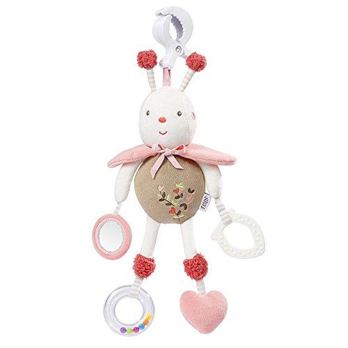 Fehn 068252 Activity-Spieltier Biene / Motorikspielzeug zum Aufhängen mit Spiegel & Ringen zum Beißen, Greifen und Geräusche erzeugen / Für Babys und Kleinkinder ab 0+ Monaten